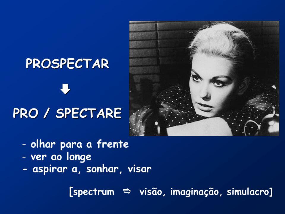 PROSPECTAR PRO / SPECTARE  - olhar para a frente - ver ao longe - aspirar a, sonhar, visar [ spectrum  visão, imaginação, simulacro]