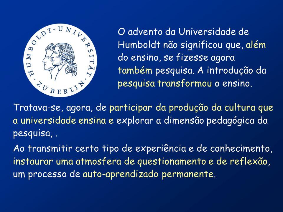 Século XIX: introdução da Pesquisa Universidade de Berlim (1810) Humboldt, Fichte, Schleiermacher, Kant... estruturar o projeto acadêmico associando o