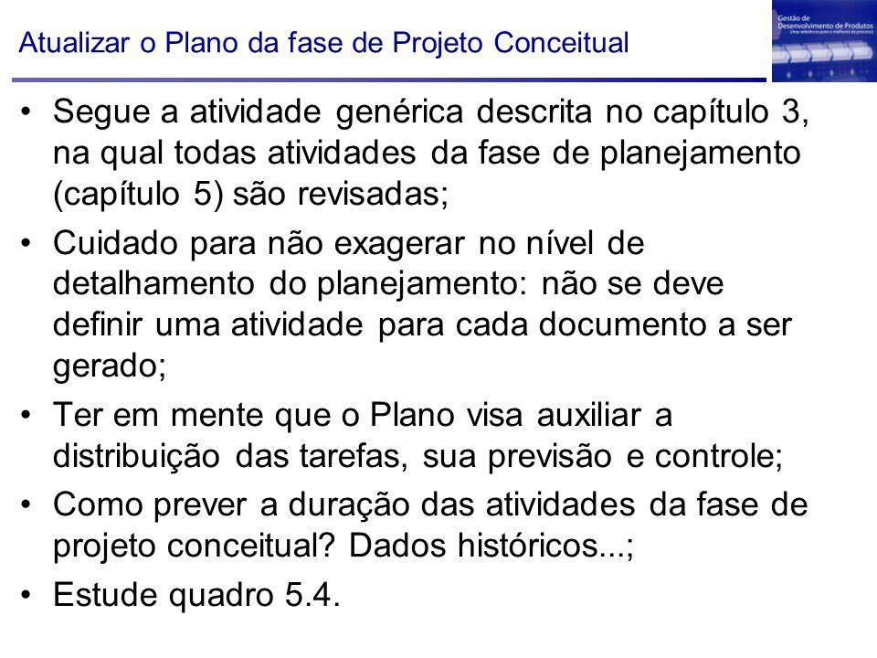 Atualizar o Plano da fase de Projeto Conceitual Segue a atividade genérica descrita no capítulo 3, na qual todas atividades da fase de planejamento (c