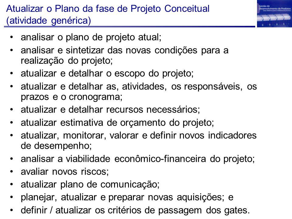 Atualizar o Plano da fase de Projeto Conceitual (atividade genérica) analisar o plano de projeto atual; analisar e sintetizar das novas condições para