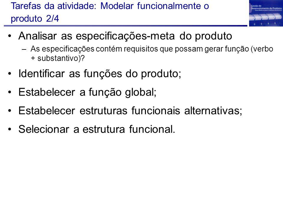 Tarefas da atividade: Modelar funcionalmente o produto 2/4 Analisar as especificações-meta do produto –As especificações contém requisitos que possam