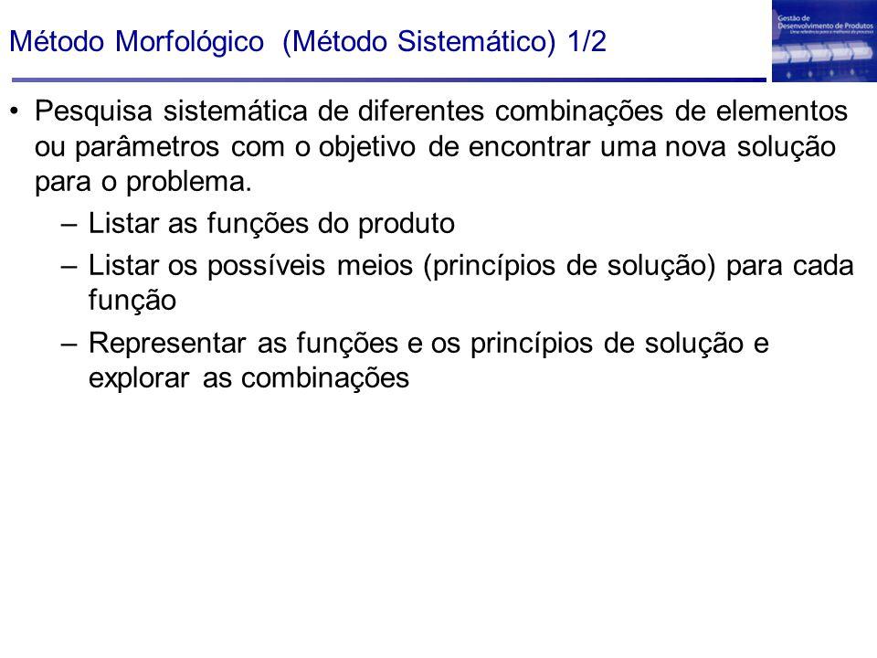 Método Morfológico (Método Sistemático) 1/2 Pesquisa sistemática de diferentes combinações de elementos ou parâmetros com o objetivo de encontrar uma