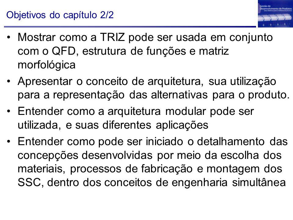 Objetivos do capítulo 2/2 Mostrar como a TRIZ pode ser usada em conjunto com o QFD, estrutura de funções e matriz morfológica Apresentar o conceito de