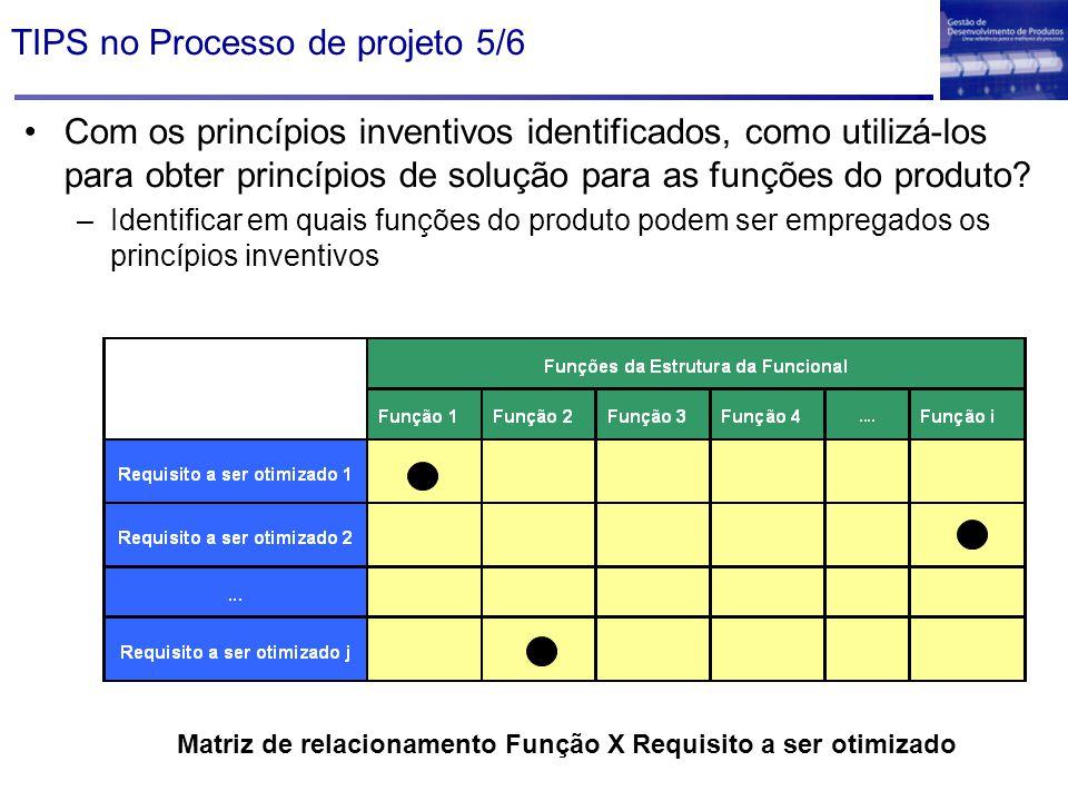 TIPS no Processo de projeto 5/6 Com os princípios inventivos identificados, como utilizá-los para obter princípios de solução para as funções do produ