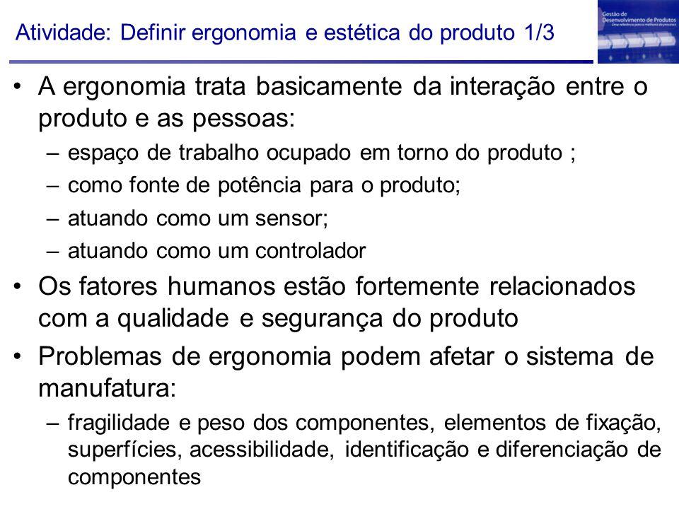 Atividade: Definir ergonomia e estética do produto 1/3 A ergonomia trata basicamente da interação entre o produto e as pessoas: –espaço de trabalho oc