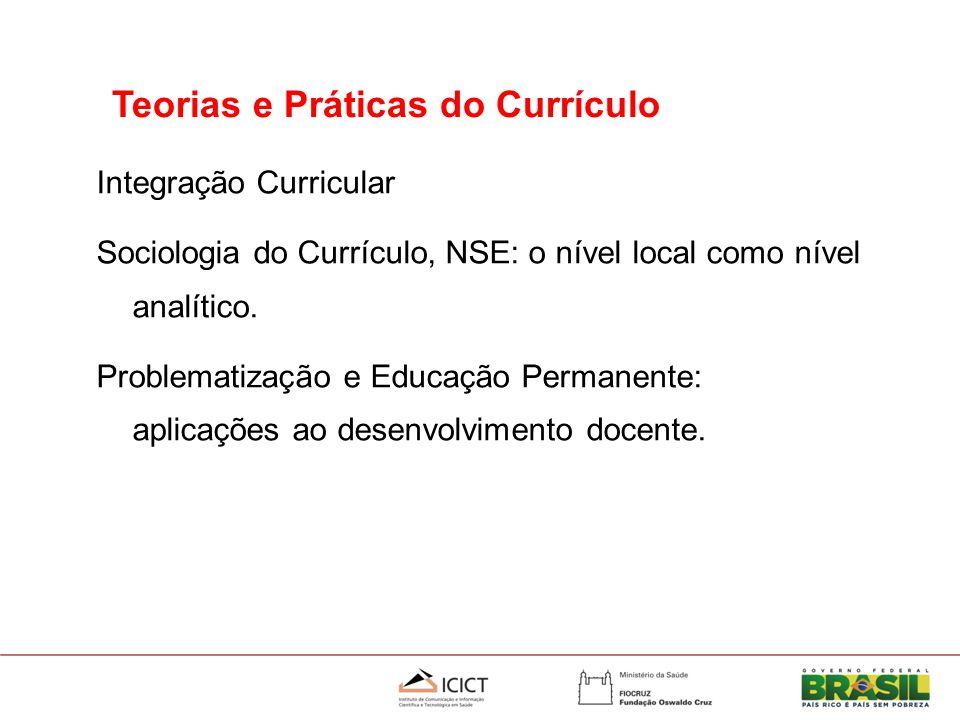 Integração Curricular Sociologia do Currículo, NSE: o nível local como nível analítico.