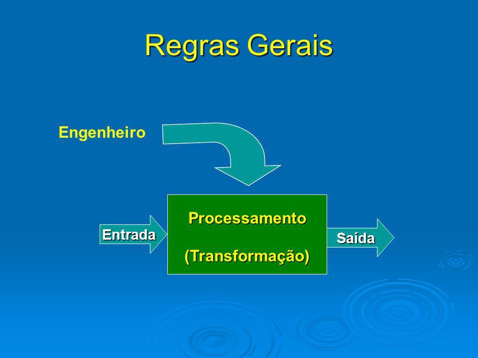 Regras Gerais Processamento(Transformação) Entrada Saída Engenheiro