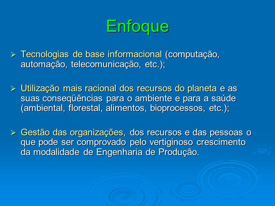 Enfoque  Tecnologias de base informacional (computação, automação, telecomunicação, etc.);  Utilização mais racional dos recursos do planeta e as su