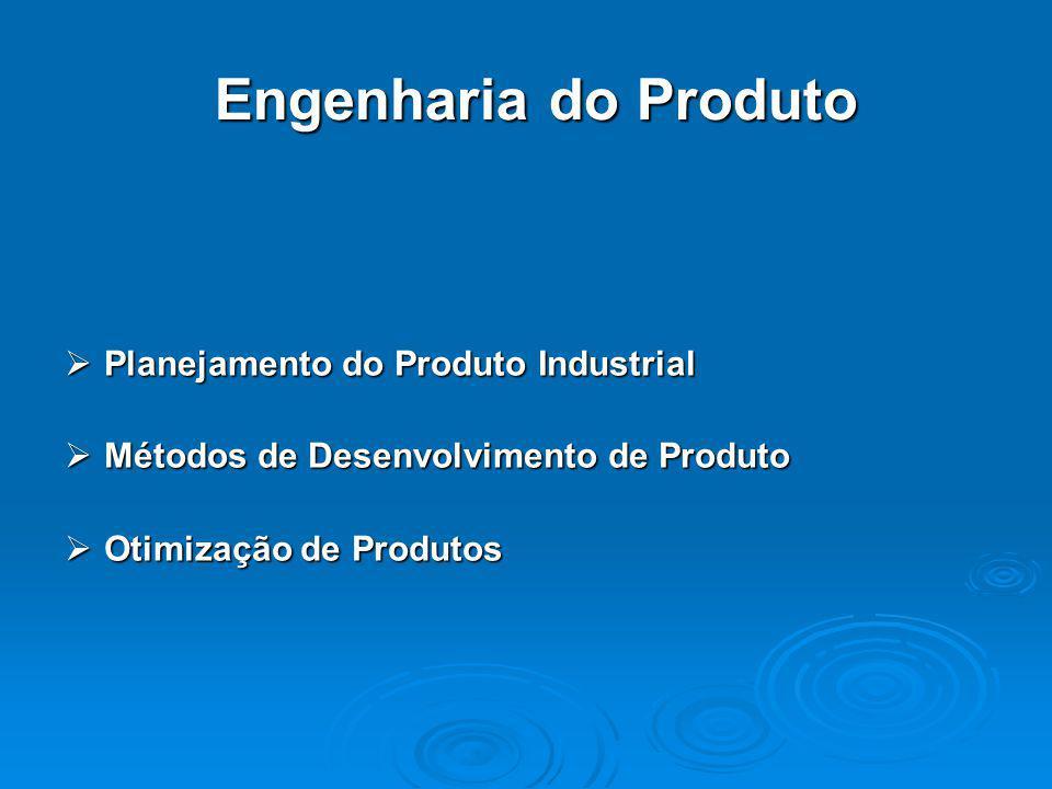 Engenharia do Produto  Planejamento do Produto Industrial  Métodos de Desenvolvimento de Produto  Otimização de Produtos