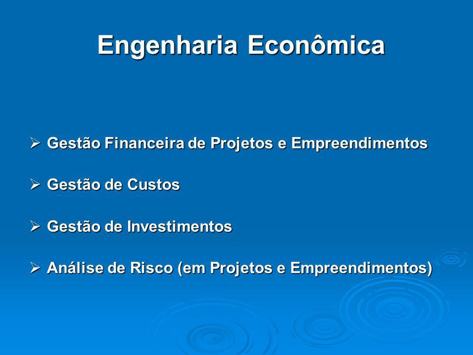 Engenharia Econômica  Gestão Financeira de Projetos e Empreendimentos  Gestão de Custos  Gestão de Investimentos  Análise de Risco (em Projetos e