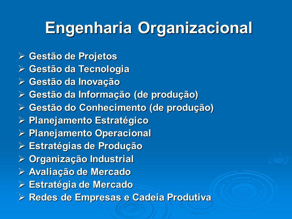 Engenharia Organizacional  Gestão de Projetos  Gestão da Tecnologia  Gestão da Inovação  Gestão da Informação (de produção)  Gestão do Conhecimen