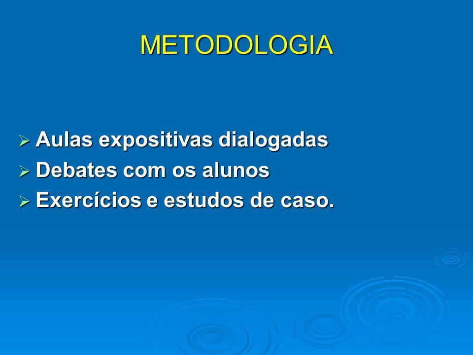 METODOLOGIA  Aulas expositivas dialogadas  Debates com os alunos  Exercícios e estudos de caso.