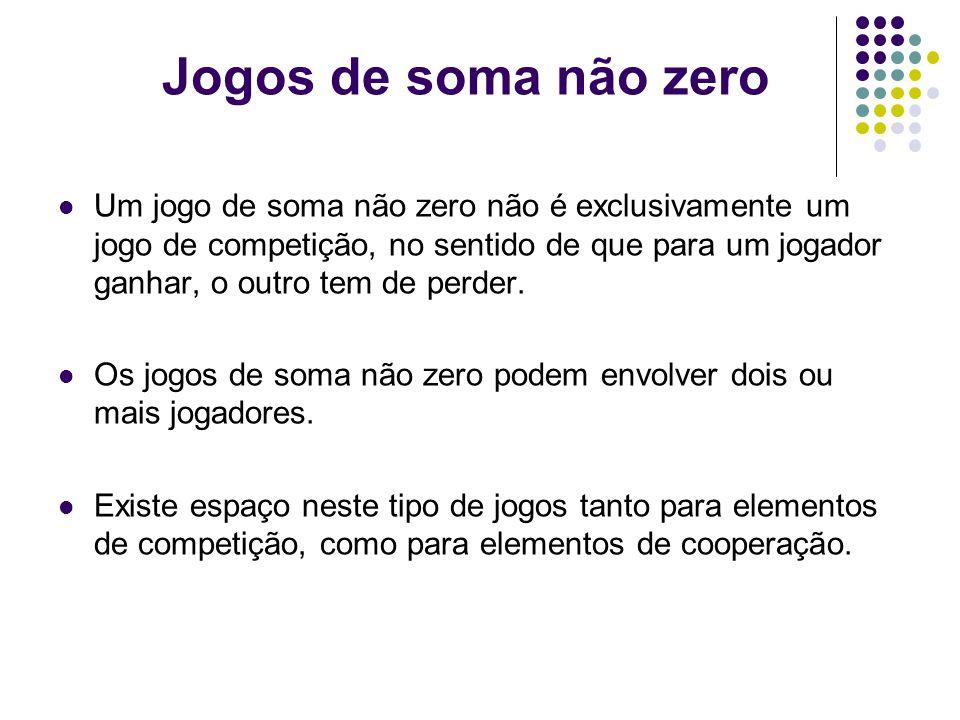 Jogos de soma não zero Um jogo de soma não zero não é exclusivamente um jogo de competição, no sentido de que para um jogador ganhar, o outro tem de perder.