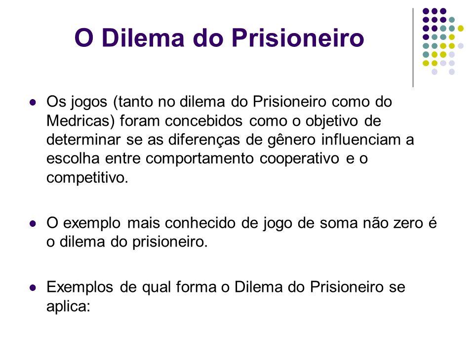 O Dilema do Prisioneiro Os jogos (tanto no dilema do Prisioneiro como do Medricas) foram concebidos como o objetivo de determinar se as diferenças de gênero influenciam a escolha entre comportamento cooperativo e o competitivo.