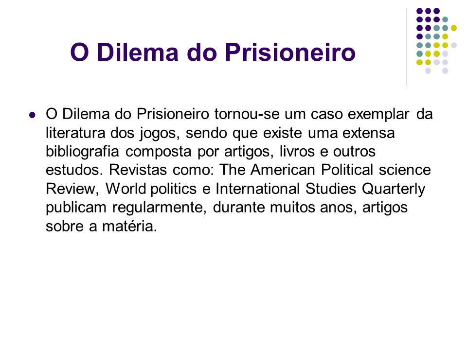 O Dilema do Prisioneiro O Dilema do Prisioneiro tornou-se um caso exemplar da literatura dos jogos, sendo que existe uma extensa bibliografia composta por artigos, livros e outros estudos.