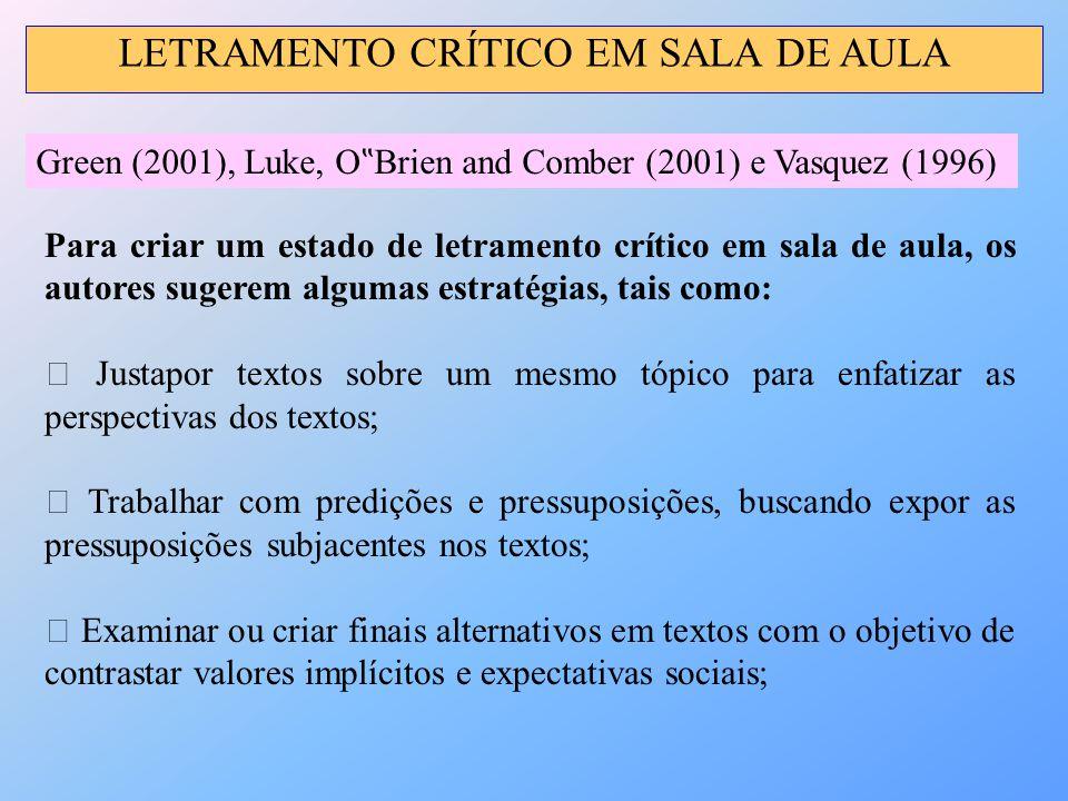 """LETRAMENTO CRÍTICO EM SALA DE AULA Green (2001), Luke, O """" Brien and Comber (2001) e Vasquez (1996) Para criar um estado de letramento crítico em sala"""