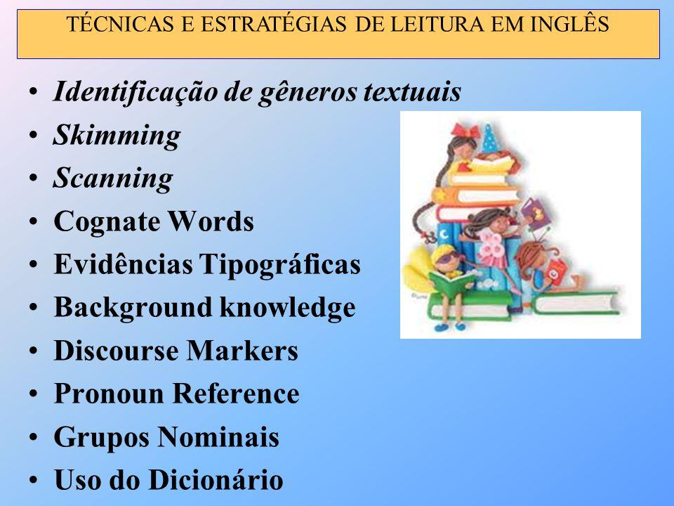 Identificação de gêneros textuais Skimming Scanning Cognate Words Evidências Tipográficas Background knowledge Discourse Markers Pronoun Reference Gru