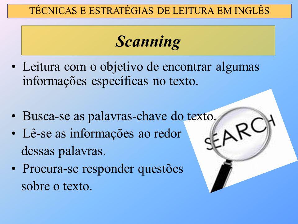Leitura com o objetivo de encontrar algumas informações específicas no texto. Busca-se as palavras-chave do texto. Lê-se as informações ao redor dessa