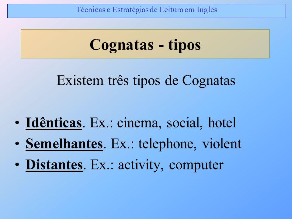 Existem três tipos de Cognatas Idênticas. Ex.: cinema, social, hotel Semelhantes. Ex.: telephone, violent Distantes. Ex.: activity, computer Cognatas