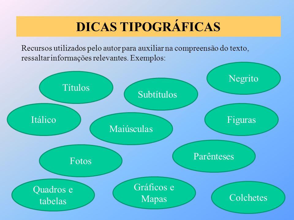 DICAS TIPOGRÁFICAS Recursos utilizados pelo autor para auxiliar na compreensão do texto, ressaltar informações relevantes. Exemplos: Negrito Subtítulo