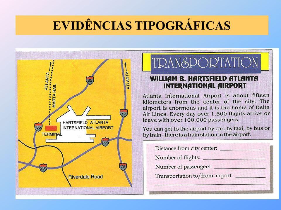 EVIDÊNCIAS TIPOGRÁFICAS
