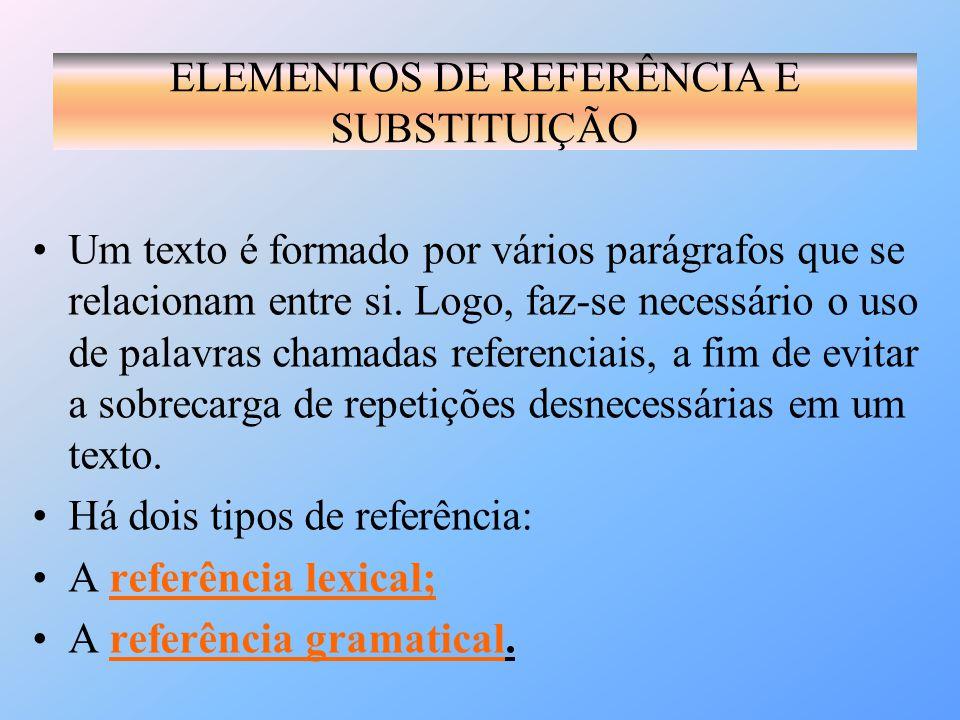 Um texto é formado por vários parágrafos que se relacionam entre si. Logo, faz-se necessário o uso de palavras chamadas referenciais, a fim de evitar
