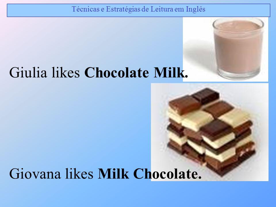 Giulia likes Chocolate Milk. Giovana likes Milk Chocolate. Técnicas e Estratégias de Leitura em Inglês