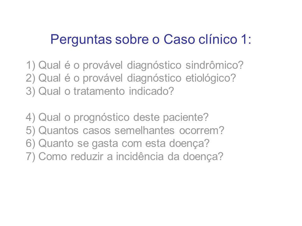Perguntas sobre o Caso clínico 1: 1) Qual é o provável diagnóstico sindrômico? 2) Qual é o provável diagnóstico etiológico? 3) Qual o tratamento indic