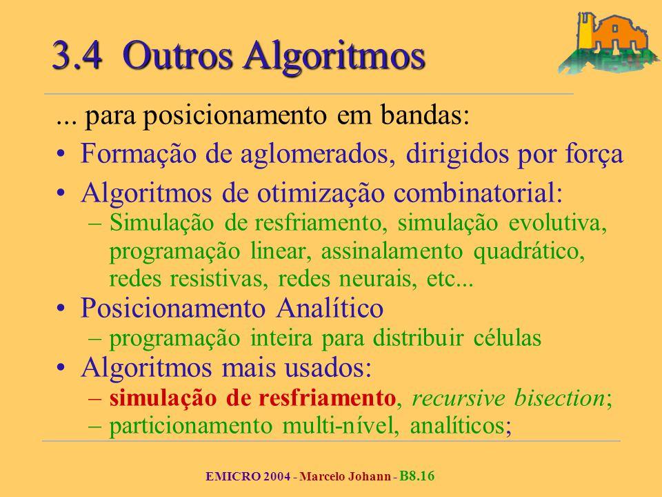 EMICRO 2004 - Marcelo Johann - B8.16 3.4 Outros Algoritmos... para posicionamento em bandas: Formação de aglomerados, dirigidos por força Algoritmos d