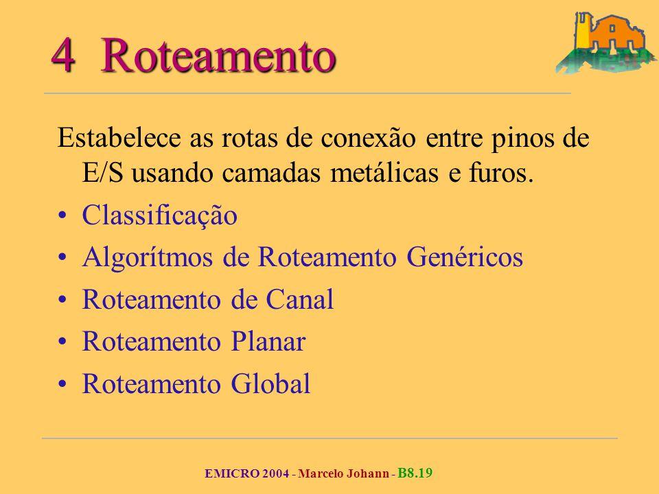 EMICRO 2004 - Marcelo Johann - B8.19 4 Roteamento Estabelece as rotas de conexão entre pinos de E/S usando camadas metálicas e furos.