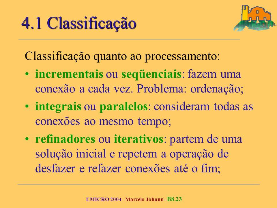 EMICRO 2004 - Marcelo Johann - B8.23 Classificação quanto ao processamento: incrementais ou seqüenciais: fazem uma conexão a cada vez.