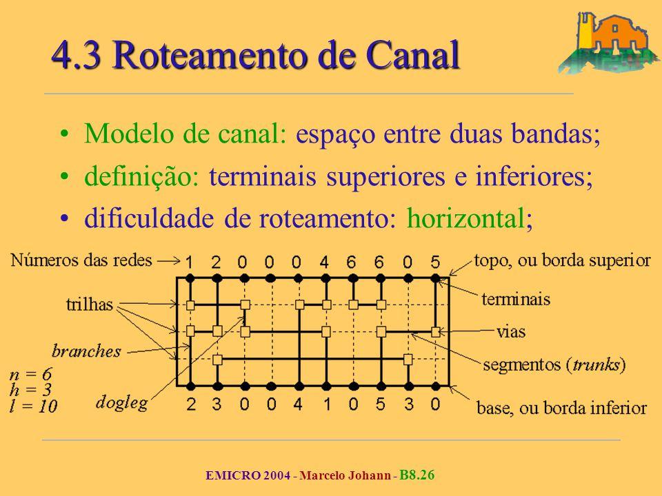EMICRO 2004 - Marcelo Johann - B8.26 Modelo de canal: espaço entre duas bandas; definição: terminais superiores e inferiores; dificuldade de roteamento: horizontal; 4.3 Roteamento de Canal