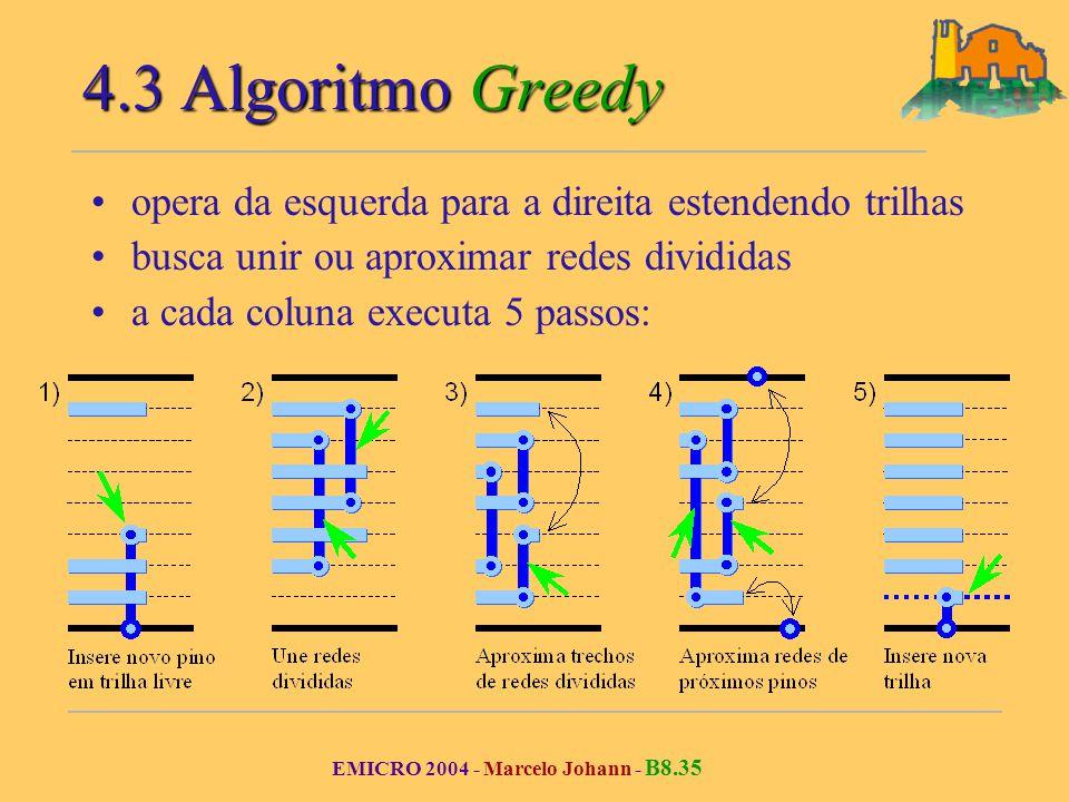 EMICRO 2004 - Marcelo Johann - B8.35 4.3 Algoritmo Greedy opera da esquerda para a direita estendendo trilhas busca unir ou aproximar redes divididas a cada coluna executa 5 passos: