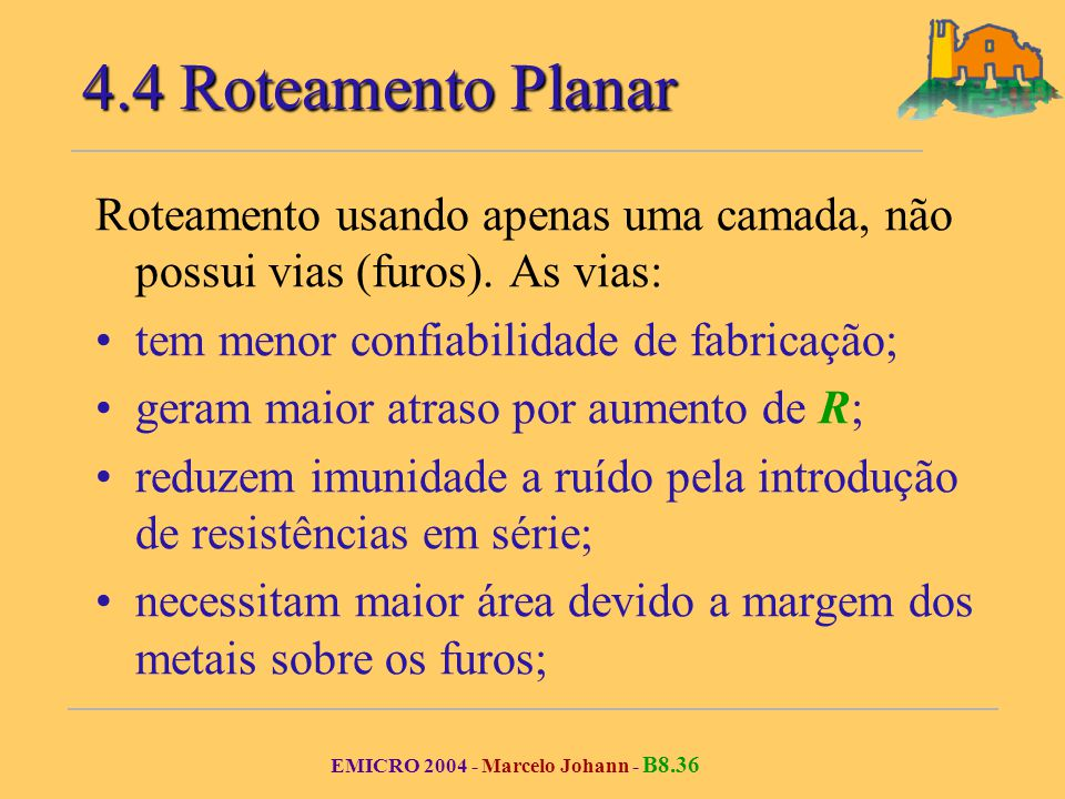 EMICRO 2004 - Marcelo Johann - B8.36 Roteamento usando apenas uma camada, não possui vias (furos).