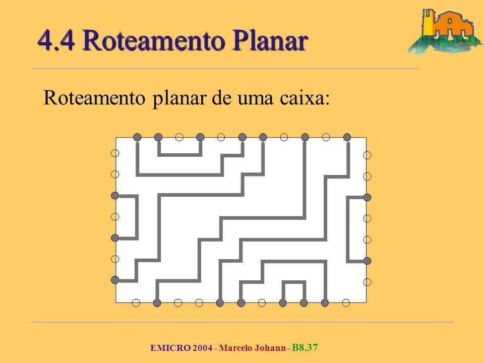 EMICRO 2004 - Marcelo Johann - B8.37 Roteamento planar de uma caixa: 4.4 Roteamento Planar
