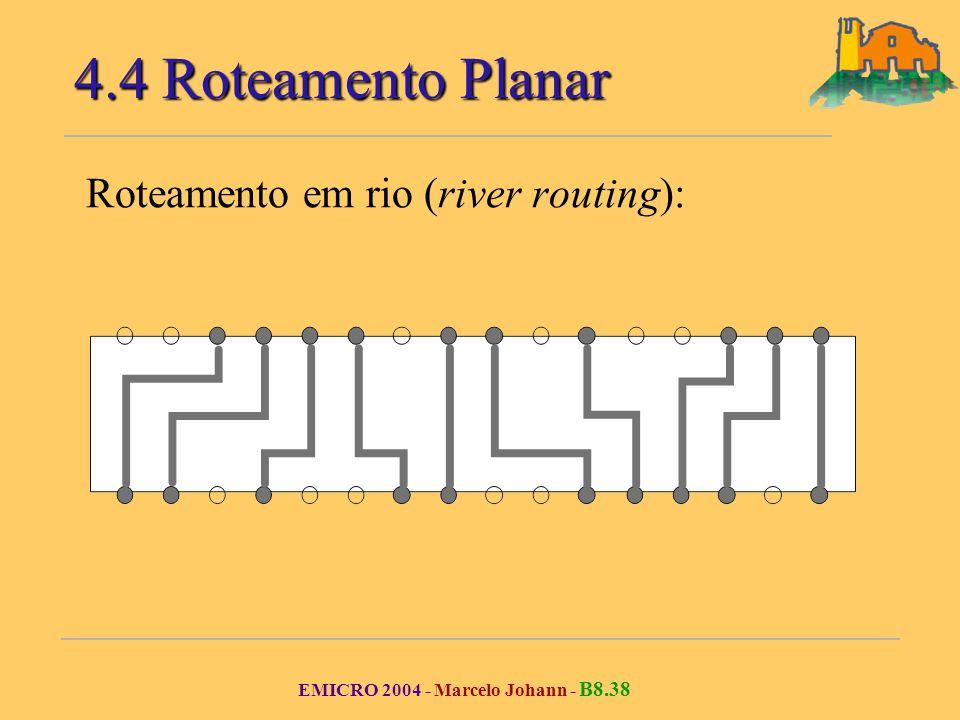 EMICRO 2004 - Marcelo Johann - B8.38 Roteamento em rio (river routing): 4.4 Roteamento Planar