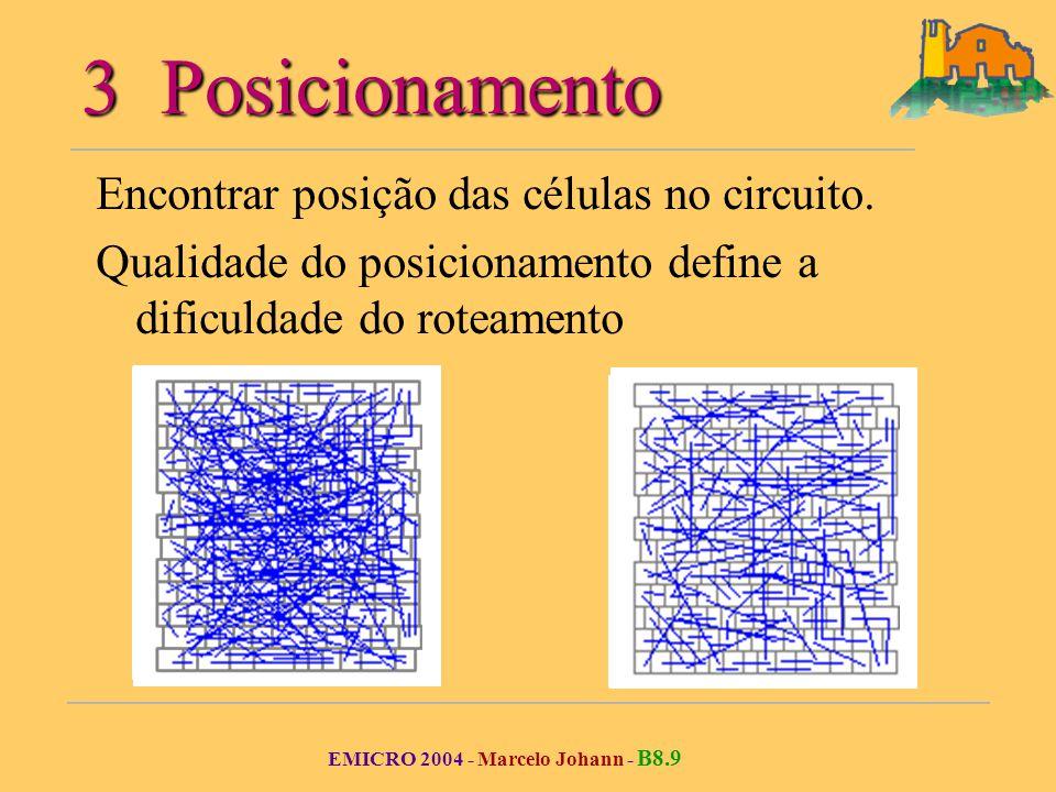 EMICRO 2004 - Marcelo Johann - B8.9 3 Posicionamento Encontrar posição das células no circuito.