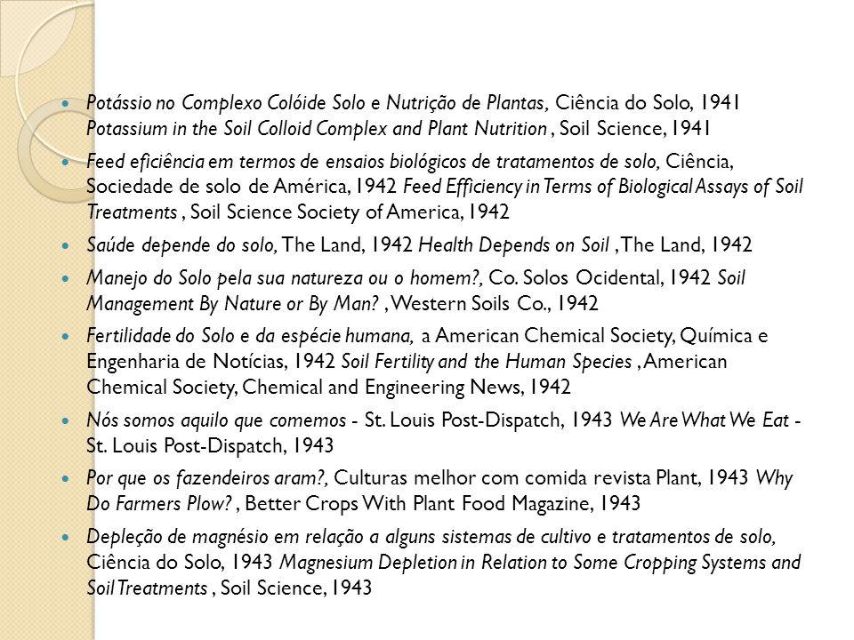 Potássio no Complexo Colóide Solo e Nutrição de Plantas, Ciência do Solo, 1941 Potassium in the Soil Colloid Complex and Plant Nutrition, Soil Science