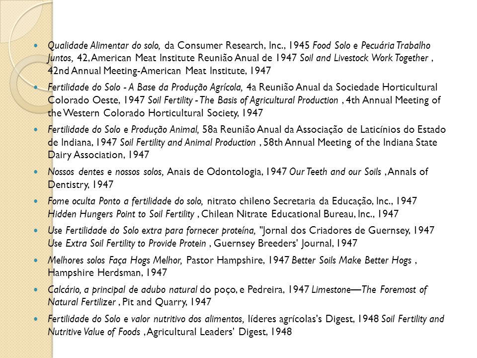 Qualidade Alimentar do solo, da Consumer Research, Inc., 1945 Food Solo e Pecuária Trabalho Juntos, 42, American Meat Institute Reunião Anual de 1947