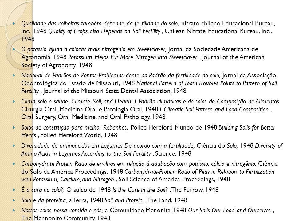 Qualidade das colheitas também depende da fertilidade do solo, nitrato chileno Educacional Bureau, Inc., 1948 Quality of Crops also Depends on Soil Fe