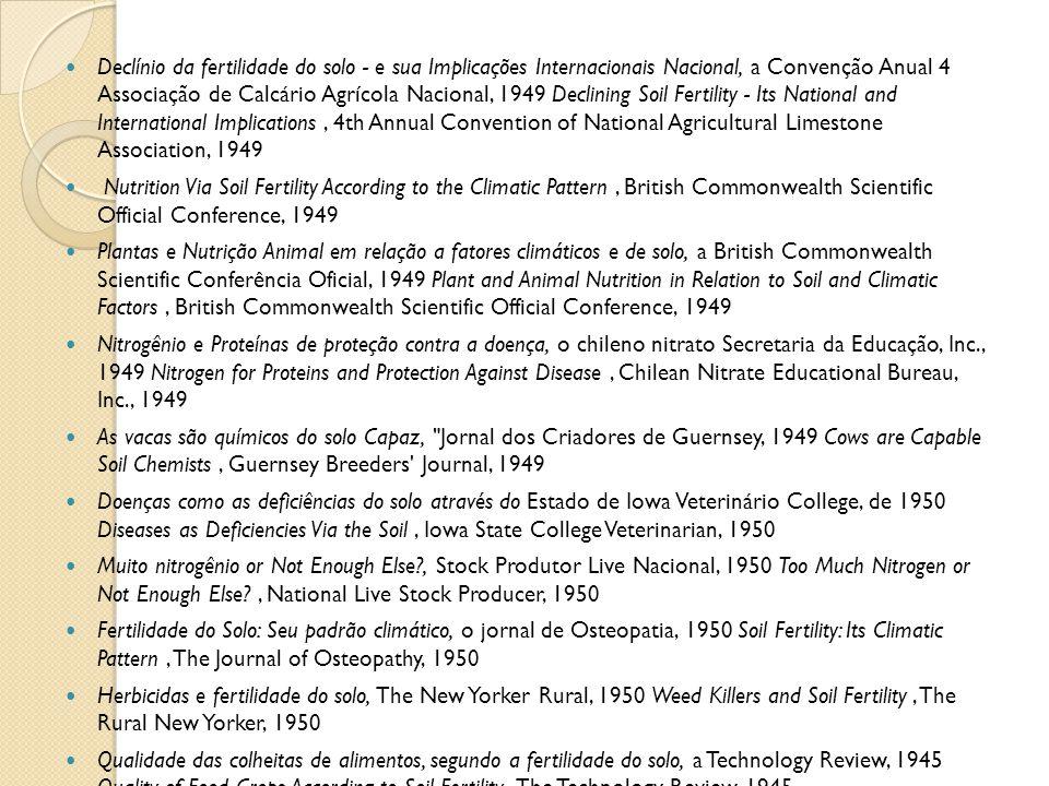 Declínio da fertilidade do solo - e sua Implicações Internacionais Nacional, a Convenção Anual 4 Associação de Calcário Agrícola Nacional, 1949 Declin