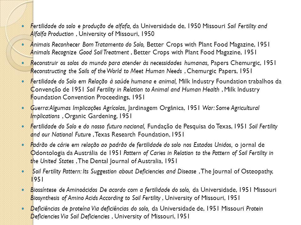 Fertilidade do solo e produção de alfafa, da Universidade de, 1950 Missouri Soil Fertility and Alfalfa Production, University of Missouri, 1950 Animai