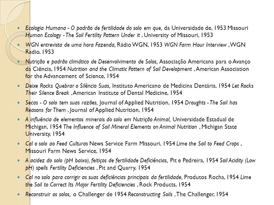 Ecologia Humana - O padrão de fertilidade do solo em que, da Universidade de, 1953 Missouri Human Ecology - The Soil Fertility Pattern Under it, Unive