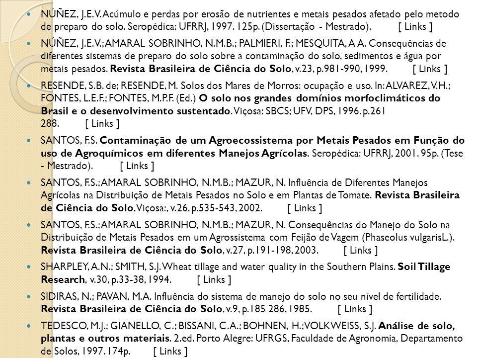 NÚÑEZ, J.E.V. Acúmulo e perdas por erosão de nutrientes e metais pesados afetado pelo metodo de preparo do solo. Seropédica: UFRRJ, 1997. 125p. (Disse