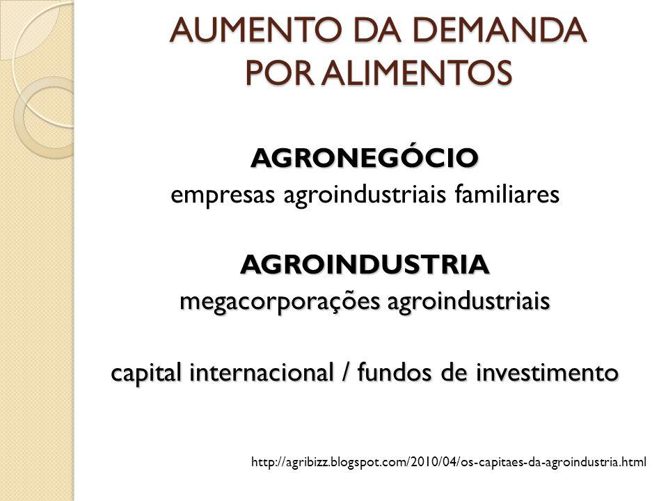 AUMENTO DA DEMANDA POR ALIMENTOS AGRONEGÓCIO empresas agroindustriais familiaresAGROINDUSTRIA megacorporações agroindustriais capital internacional /