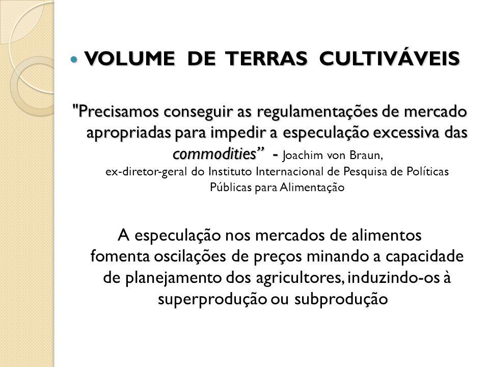 VOLUME DE TERRAS CULTIVÁVEIS VOLUME DE TERRAS CULTIVÁVEIS