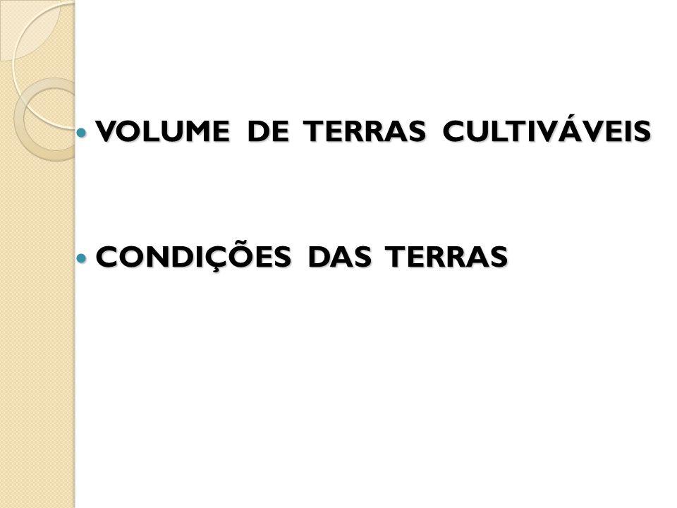 VOLUME DE TERRAS CULTIVÁVEIS VOLUME DE TERRAS CULTIVÁVEIS CONDIÇÕES DAS TERRAS CONDIÇÕES DAS TERRAS