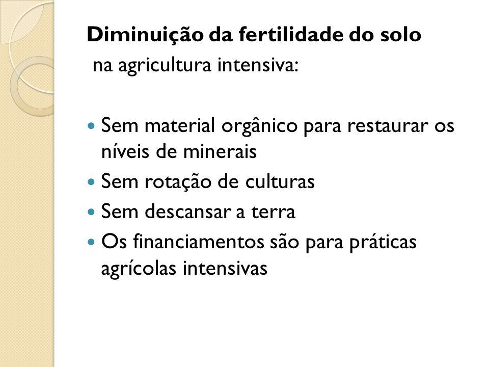 Diminuição da fertilidade do solo na agricultura intensiva: Sem material orgânico para restaurar os níveis de minerais Sem rotação de culturas Sem des