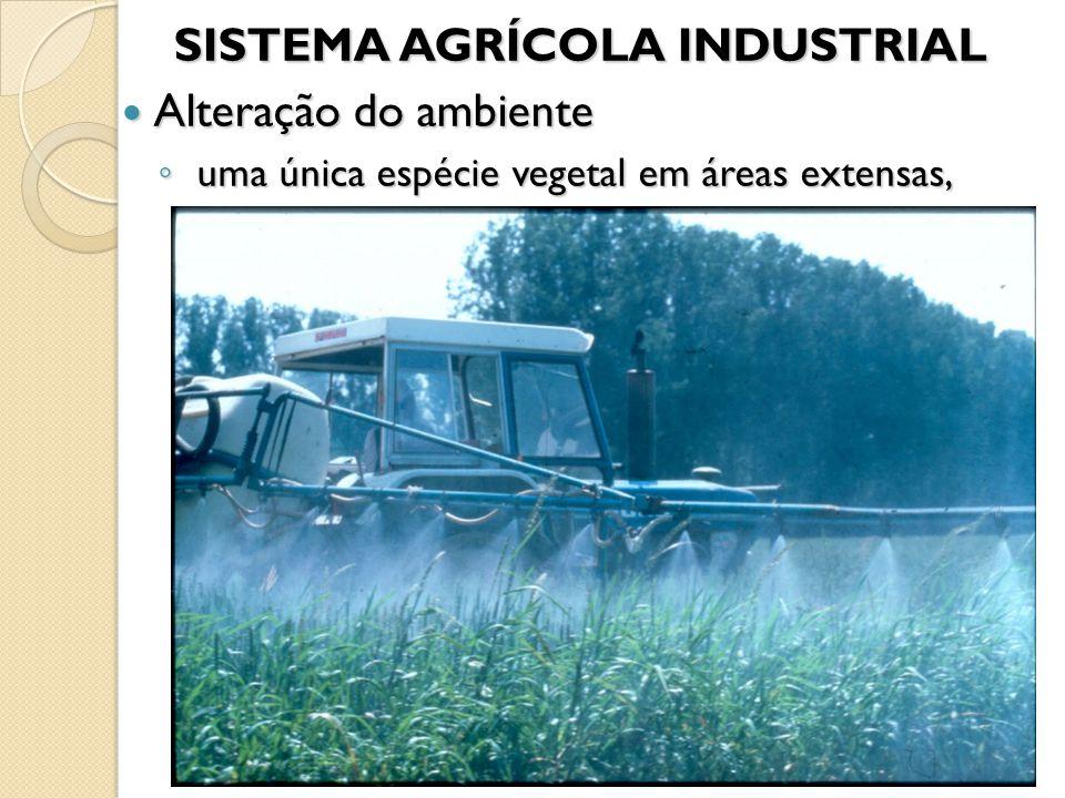 SISTEMA AGRÍCOLA INDUSTRIAL SISTEMA AGRÍCOLA INDUSTRIAL Alteração do ambiente Alteração do ambiente ◦ uma única espécie vegetal em áreas extensas,
