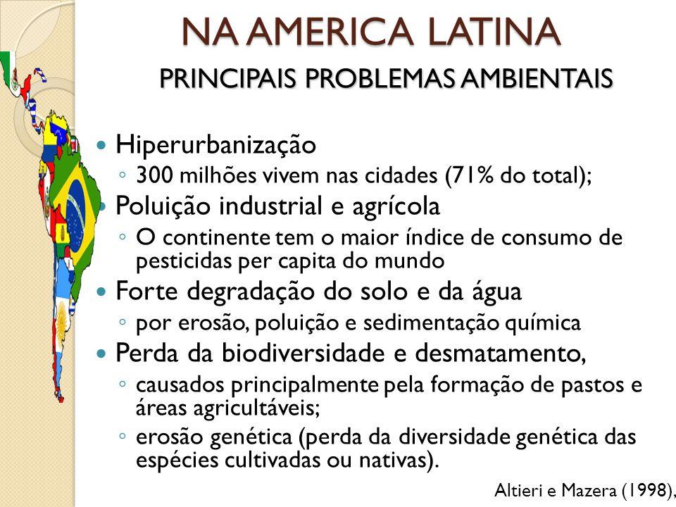 NA AMERICA LATINA PRINCIPAIS PROBLEMAS AMBIENTAIS Hiperurbanização ◦ 300 milhões vivem nas cidades (71% do total); Poluição industrial e agrícola ◦ O